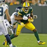 Green Bay Packers receiver Davante Adams makes a catch over the middle against the Seattle Seahawks at Lambeau Field last month.