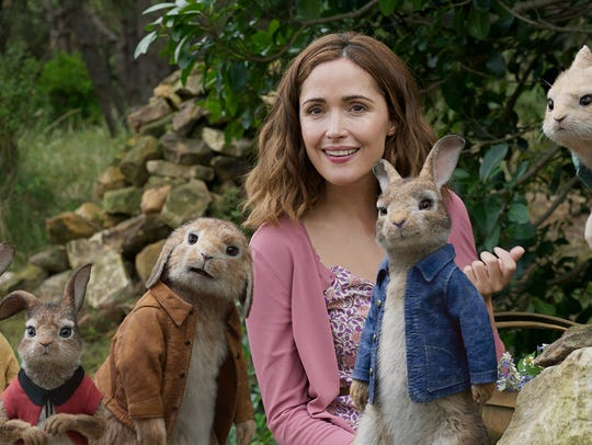 Rose Byrne teams up with characters, from left, Mopsy,