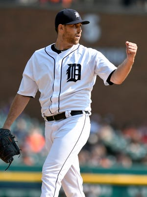 Tigers starting pitcher Matt Boyd reacts after the final out  in the sixth inning against the White Sox, Sunday, Sept. 17, 2017 in Detroit.