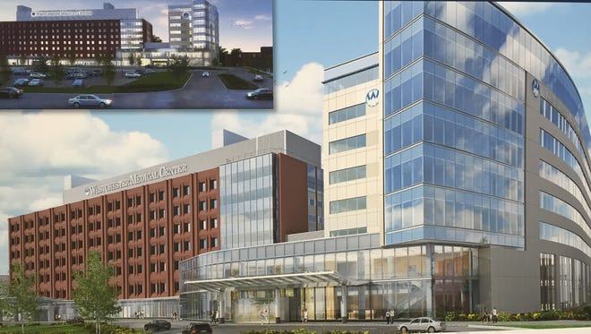 A rendering of the Westchester Medical Center's proposed Ambulatory Care Pavilion on display at the Local Development Corp. meeting, March 2, 2016.