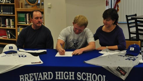 Brevard's Johnny Stamey has signed to play college baseball for Mars Hill.