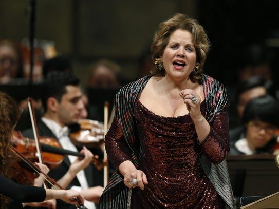 """In this file photo, Renee Fleming appears in the world premiere of """"Letters From Georgia"""" at the Kodak Hall at Eastman Theatre."""