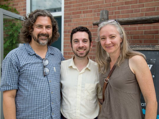 """From left, Samuel Buggeln, director, and Nick Salvato and Aoise Stratford, writers of """"Storm Country."""""""
