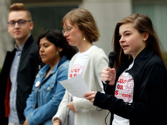 Greenwood High School Lab student Korinna Hylen speaks during the Gun Violence Protest at the Missouri State campus on March 23, 2018.