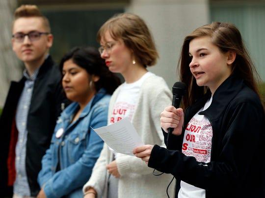 Greenwood High School Lab student Korinna Hylen speaks