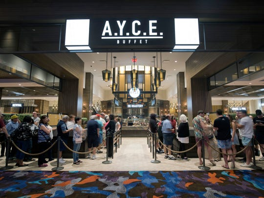 Guests line up for the A.Y.C.E (All You Can Eat) buffet at the Palms Casino Resort.