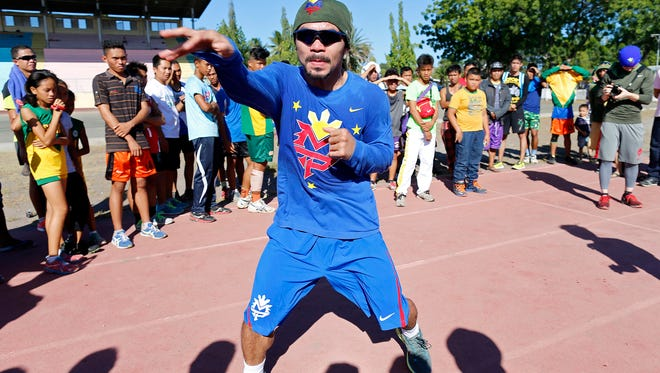 Manny Pacquiao trains at Pedro Acharon Sports Complex on January 28, 2016 in General Santos, Philippines.