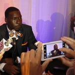 Auburn's Jeremy Johnson during the NCAA college football Southeastern Conference Media Days, Monday, July 13, 2015, in Hoover, Ala. (AP Photo/Butch Dill)