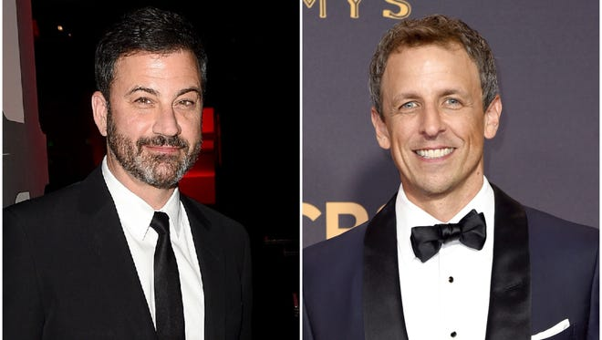 Jimmy Kimmel, left, and Seth Meyers both responded to the president's call for equal time on late-night shows.