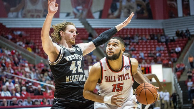 Ball State's Franko House moves in to take the shot during the game against Western Michigan on Saturday. Ball State defeated Western Michigan 75-71.