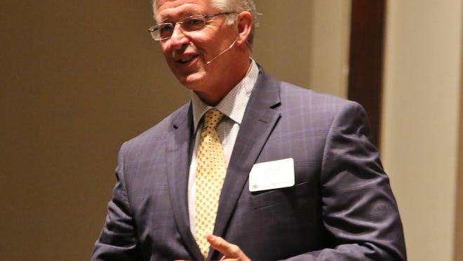 Dr. David Vanderpool speaks during a fundraiser Tuesday in Jackson supporting LiveBeyond, a humanitarian project serving the people of Thomazeau, Haiti.