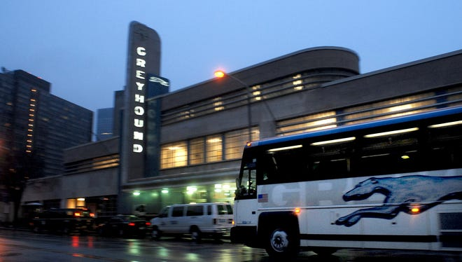 A Greyhound bus pulls out of the Cleveland Greyhound Terminal in Cleveland, Ohio.