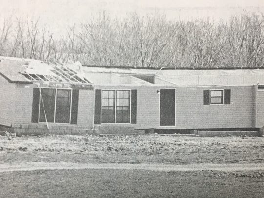 The home of Kenny Thomas on Ricketts Rd. south of Morganfield was a total loss after what Thomas described as a tornado struck the home around 2:30 a.m. in March 1988. Thomas, his wife, and two teenage children escaped unharmed.