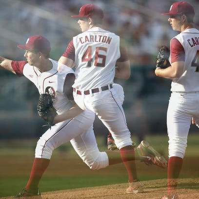 Captured with a multiple exposure camera technique, FSU's Drew Carlton pitching motion is shown against USF last season.