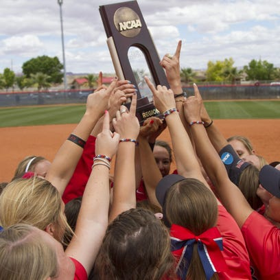 Dixie State softball celebrates winning the Region Championship with a 6-0 victory over Sonoma State Saturday, May 16, 2015. Chris Caldwell / The Spectrum & Daily News
