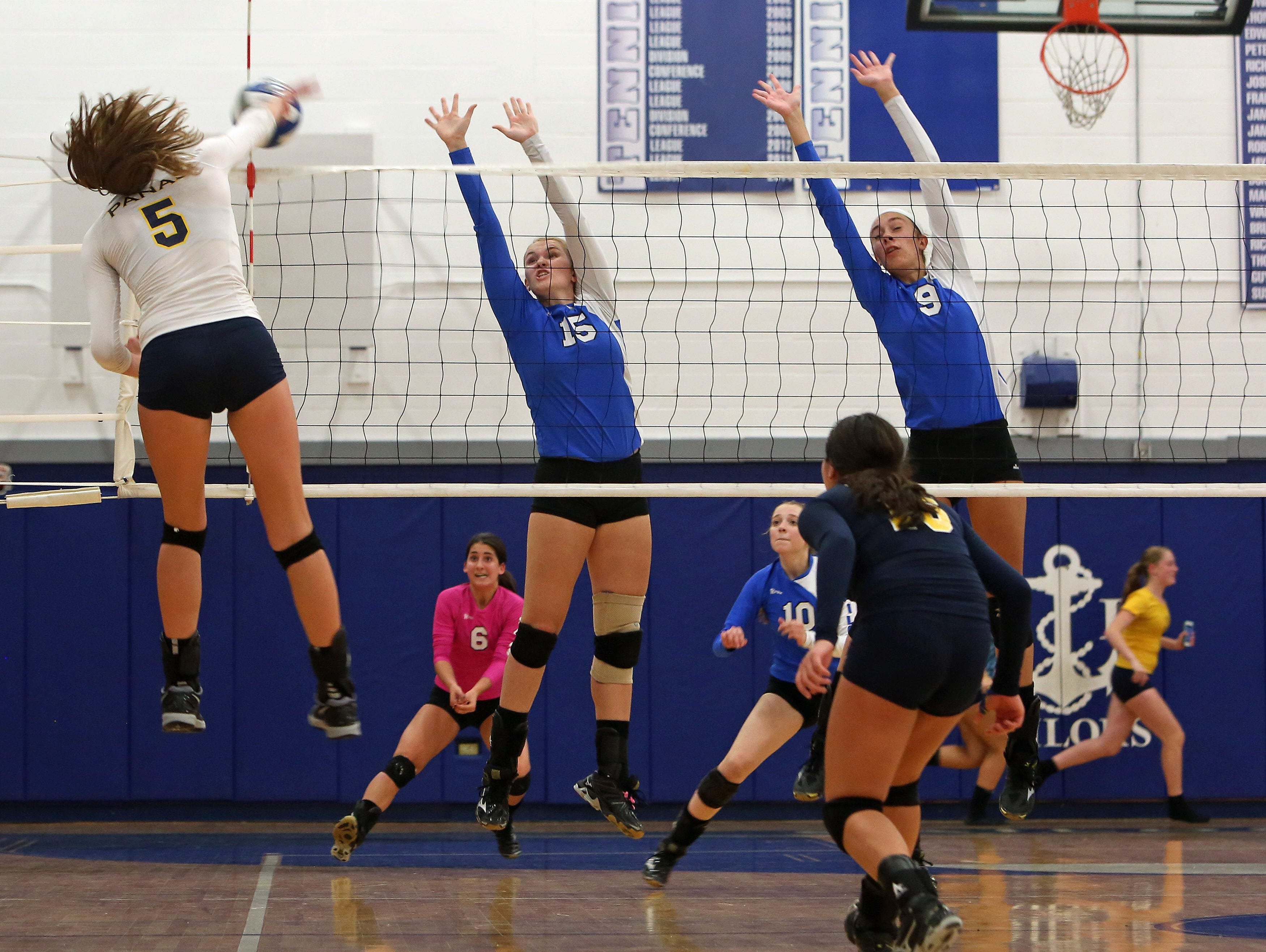 Walter Panas defeated Hendrick Hudson 3-0 in volleyball action at Hendrick Hudson High School in Montrose Oct. 8, 2015.