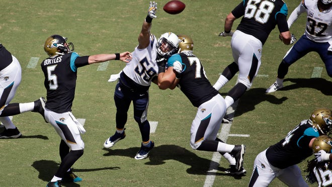 Jacksonville Jaguars quarterback Blake Bortles (5) gets a pass over the outstretched arm of San Diego Chargers inside linebacker Andrew Gachkar (59) during the first quarter of a NFL football game Sunday, Sept. 28, 2014, in San Diego. (AP Photo/Chris Carlson)