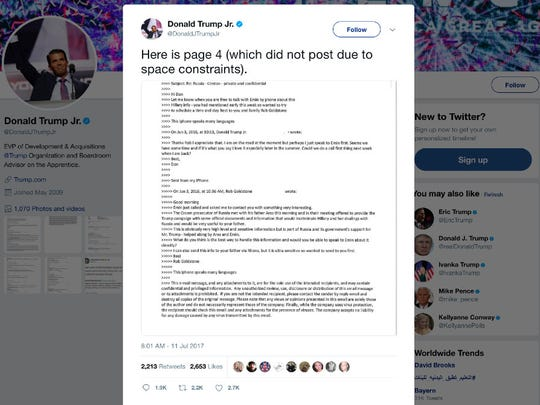 """This screenshot shows a tweet posted Tuesday, by Donald Trump Jr. on his Twitter account, in which he reveals an email chain with publicist Rob Goldstone in June 2016. In the email, he discusses plans to hear damaging information on Hillary Clinton that were described as """"part of Russia and its government's support for Mr. Trump."""""""