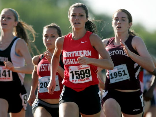 Madison Holleran of Northern Highlands and Corinne Myers of Westwood brought home the 800 meters first and second place medals to Bergen County in June 2013.