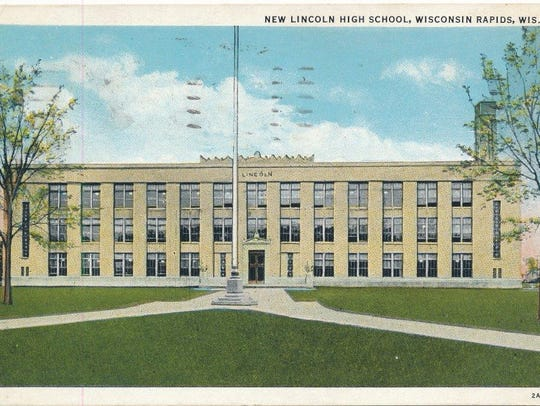 """A postcard of the """"New Lincoln High School"""""""
