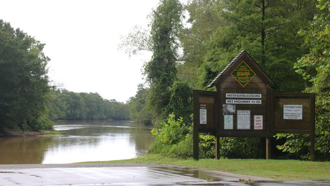 The Neuse River at the boat dock at the King Street Bridge sat under nine feet Monday morning.