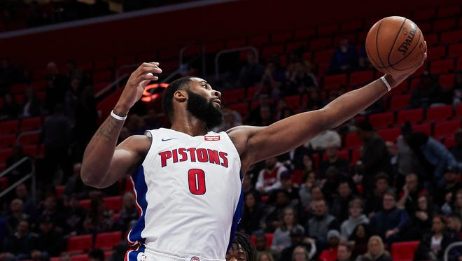 Pistons center Andre Drummond (0) grabs the rebound in the first half on Friday, Jan. 19, 2018, at Little Caesars Arena.