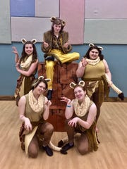 """""""Alex and lionesses"""" in Treehouse Theater's production of """"Madagascar Jr."""" Pictured are, front row, from left: Maya Gadzinski and Kiersten Moser; standing: Winona Grossman and Maya Pagel; and seated on boxes: Noah Babich."""