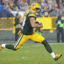 Green Bay Packers wide receiver Jeff Janis takes a kickoff return Thursday during the first quarter against the Chicago Bears at Lambeau Field.