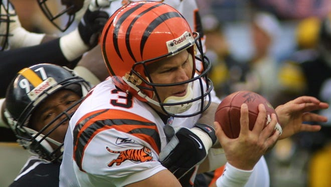 Former Bengals quarterback Jon Kitna clearly remembers how hard it was to throw the football in this Oct. 7, 2001 loss at Pittsburgh.