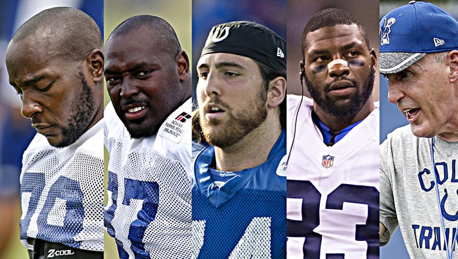 Robert Mathis (far left) is among the Colts facing massive expectations in 2016.