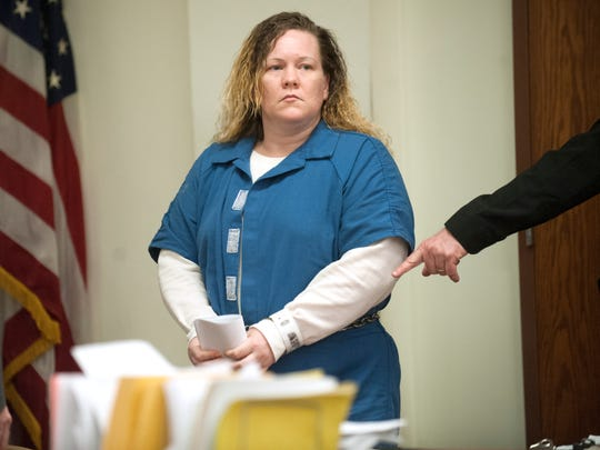 Susan Hyland of Beverly, who is charged with the fatal hit-and-run of 16-year-old Quason Turner of Pennsauken, enters a courtroom in Camden County Superior Court on Thursday for sentencing.