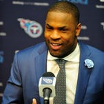 New Titans running back DeMarco Murray talks at an introductory press conference Thursday at Saint Thomas Sports Park.