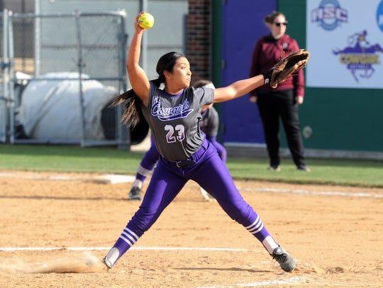 Hardin-Simmons pitcher Gabby Ortega goes through her