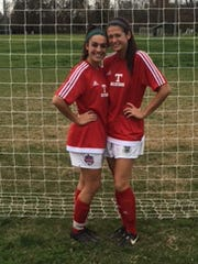 Siegel's Madison Louk, left,  and Taylor Ryan played for the East team in last weekend's Tennessee East-West All-Star Girls Soccer Game.