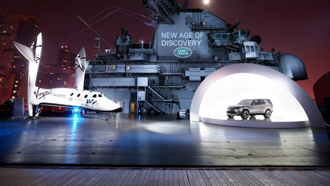Land Rover is showing the Discovery concept on the retired carrier Intrepid in New York