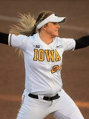 Iowa's Shayla Starkenburg throws a pitch during the