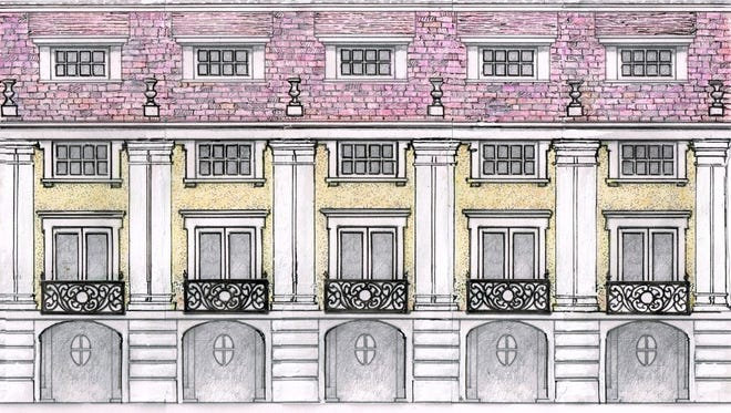 A rendering of the facade of the condos being proposed by Ray Rapcavage. They are meant to have a European feel.
