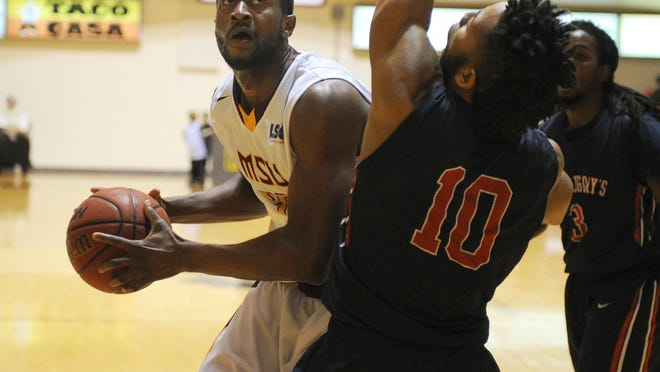 Midwestern State's Igor Ibaka drives to the basket in the game against St. Gregory's Friday, Dec. 16, 2016, at D.L. Ligon Coliseum. MSU defeated SGU 88-49.