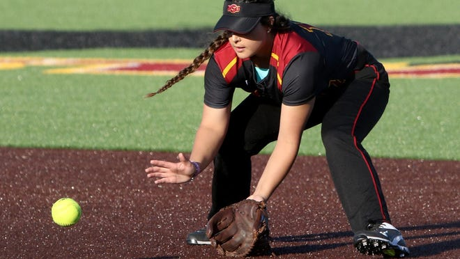 Midwestern State's Misty Muniz fields the ground ball in the game against UT-Permian Basin Friday, Feb. 17, 2017, at Mustangs Park at MSU.