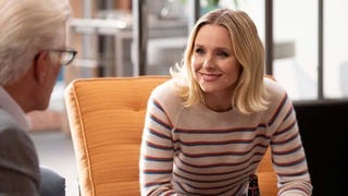 "Kristen Bell with Ted Danson in ""The Good Place."""