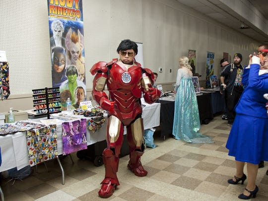 Ruby Rinekso from New York is a well-known cosplay actor and is dancing as Iron Man during the second day of the Central PA Comic Con. Saturday March 5, 2016 at the York Fairground and Expo Center in the Old Main Building. The Central PA Comic Con was originally scheduled for last weekend in Lancaster, but got moved to York. The Central PA Comic Con will host over 100 vendors, authors, artists and celebrities. It will also host a cosplay contest and fan panels during the weekend in York, Pennsylvania.
