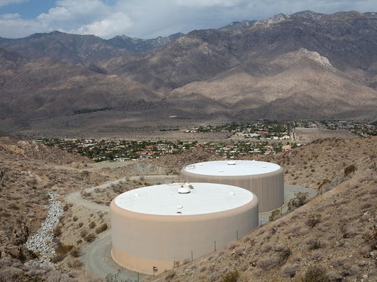 Two large Desert Water Agency water tanks stand overlooking south Palm Springs and the Indian Canyons.