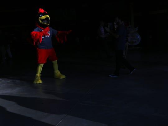 April 10, 2018 - Rocky, the Memphis Redbirds' mascot,