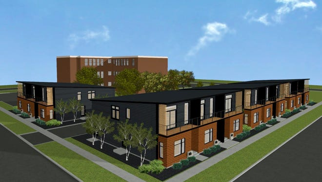 A rendering of the townhouses MKE View plans to build around the Whitney School building.