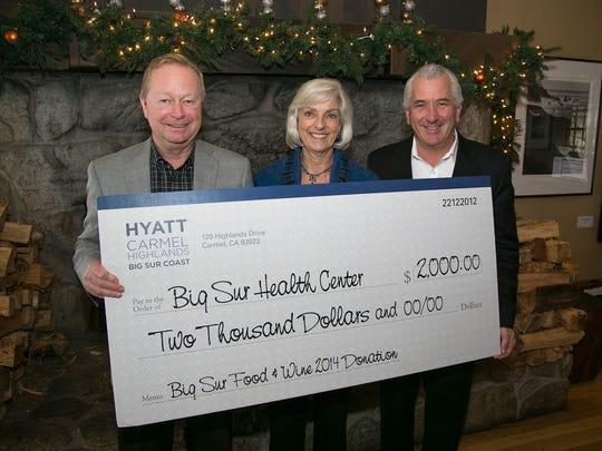 Big Sur Health Center receives donation from Hyatt Carmel Highlands.