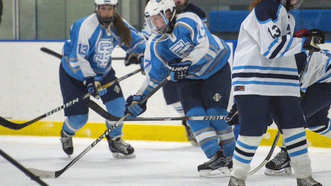 South Burlington's Katie Young skates against Mount Mansfield in girls hockey action Wednesday.
