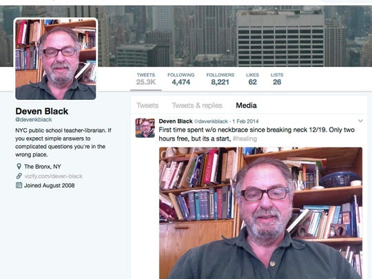 This March 28, 2017 image shows the Twitter page of Deven Black, a nationally-recognized school librarian. In just three years he become destitute, his behavior growing more and more bizarre. His family and friends had a feeling that something more than depression was to blame and a year after his death, experts agree he was suffering from a rare disease.