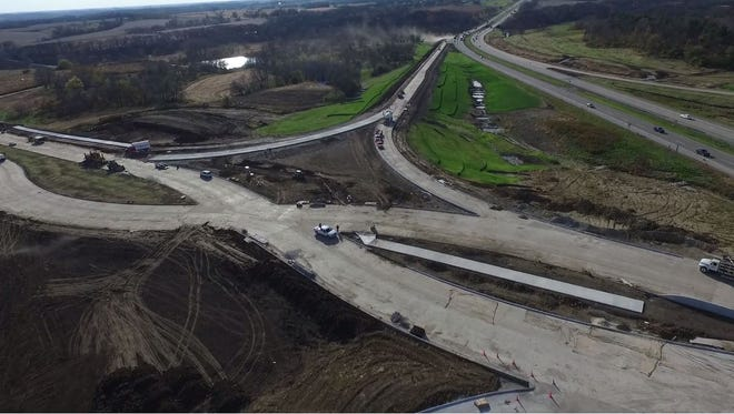 A drone captured footage of construction along Grand Prairie Parkway and Interstate 80.