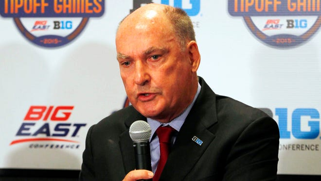 Big Ten Commissioner Jim Delany addresses the media during the Big East/Big Ten news conference Monday at Madison Square Garden.
