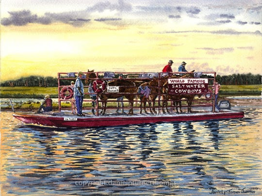 'Cowboys Commute' is one of the paintings that will
